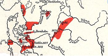 In red: Representation of the contested areas between 1674 and 1678 in the Northern War from 1674 to 1679 Map excerpt from: FW Putzgers, Historischer Schul-Atlas, 1905