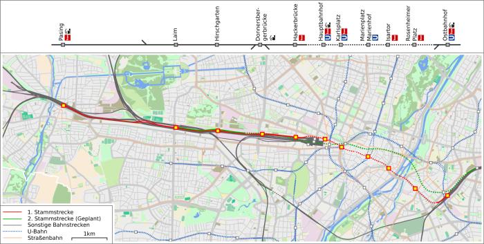 S Bahn Karte München.Stammstrecke S Bahn München Wikiwand
