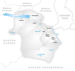 Gemeenten in het district (kieskring) Sarganserland