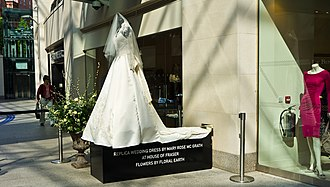 Wedding dress of Catherine Middleton - A replica of the dress outside a shop in Belfast