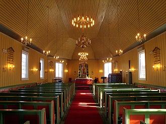 Kautokeino Church - Image: Kautokeino Church, facing the altar (2014)