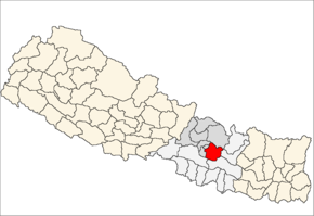 Kavrepalanchok District i Bagmati Zone (grå) i Central Development Region (grå + lysegrå)