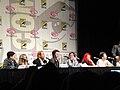 Kick-Ass panel - Christopher Mintz-Plasse, Chloë Grace Moretz, Nicolas Cage, Aaron Johnson, Clark Duke, Jane Goldman, John Romita Jr (4499363274).jpg