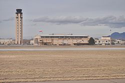 Buildings at Kirtland AFB, including the air traffic control tower.