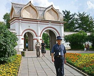 Bochka roof - Stone gates in Kolomenskoye, covered with wooden double cross bochka roof. 17th-century.