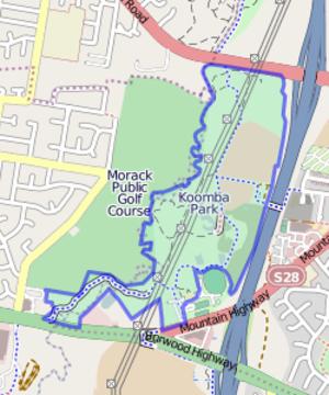 Koomba Park - OpenStreetMap of Koomba Park, with the park boundary highlighted.