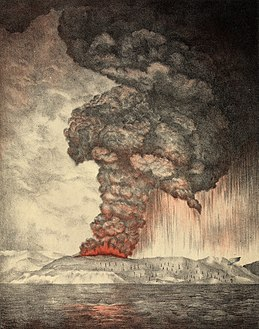 An 1888 lithograph of the 1883 eruption of Krakatoa.