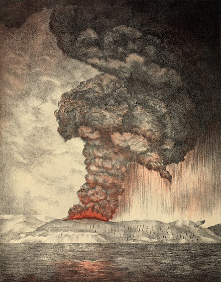 An 1888 lithograph of the 1883 eruption of Krakatoa. Krakatoa eruption lithograph.jpg