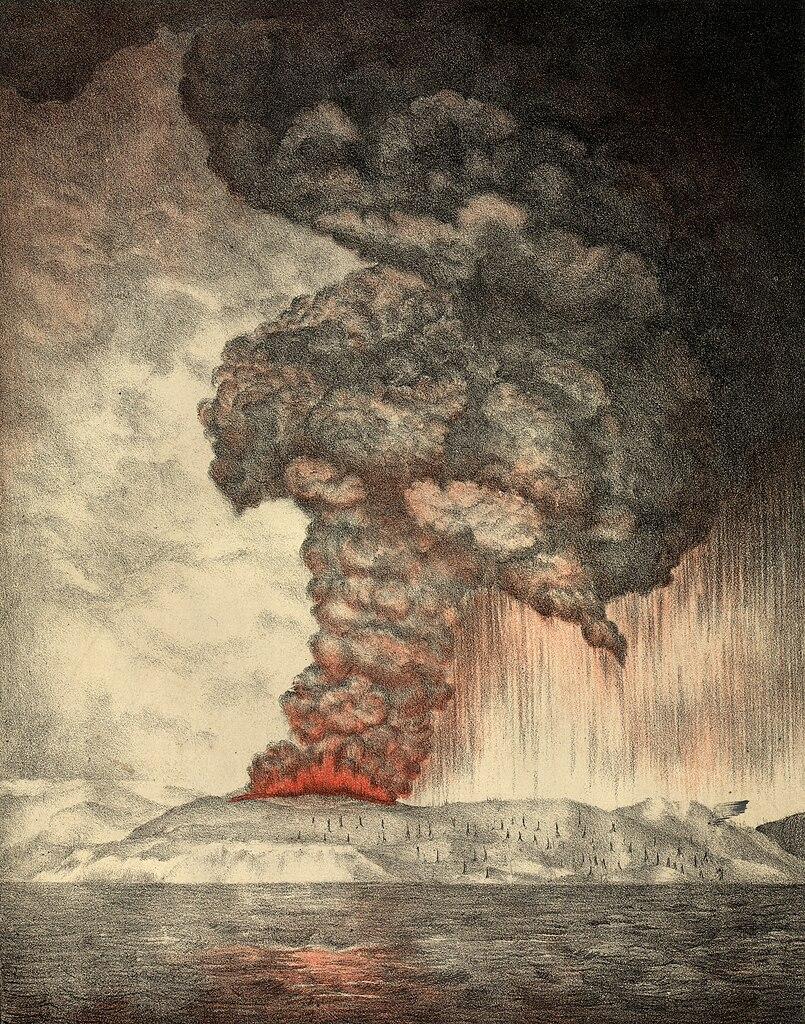 Sebuah litografi yang dibuat pada tahun 1888 yang menggambarkan Gunung Krakatau pada kejadian Erupsi 1883.