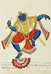 Krishna dancing on a lotus, c1825