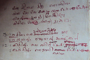 Kumaran Asan - Handwriting of Kumaran Asan : From the notebooks of Asan kept at Thonnakkal Asan museum