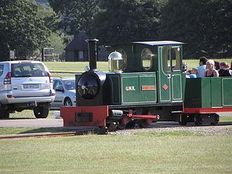 "Woburn Safari Park - Locomotive ""Lady Alexandra"" hauling a passenger train."
