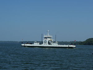 Lake Ontario vehicle ferry the MV Glenora, taken from her sister ship, the Quinte Loyalist.jpg