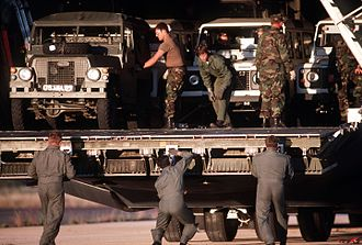 United Nations Transition Assistance Group - Crew unload landrovers in Grootfontein for use by Finnish UNTAG troops