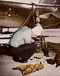 Landing gear repair on a North American SNJ at Naval Air Station Norfolk on 20 April 1945 (80-G-K-4632).jpg