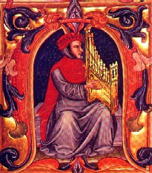 Squarcialupi Codex - Illustration from the Squarcialupi Codex, showing Francesco Landini playing a portative organ