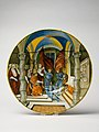 Large Dish (tagliere)- Pope Leo X presenting a baton to Federigo II Gonzaga, marquis of Mantua, on his appointment as captain general of the Church in 1521. MET DP158924.jpg
