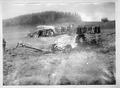 Lastwagen und Traktor sind im morastigen Boden eingesunken - CH-BAR - 3241612.tif