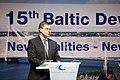 Latvijas Ministru prezidents Valdis Dombrovskis, Lietuvas Ministru prezidents Aļģirds Butkevičs (Algirdas Butkevičius) un Igaunijas premjerministrs Andruss Ansips (Andrus Ansip) apmeklē Baltijas attīstības forumu (8887724603).jpg