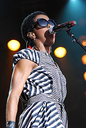 Lauryn Hill performing.