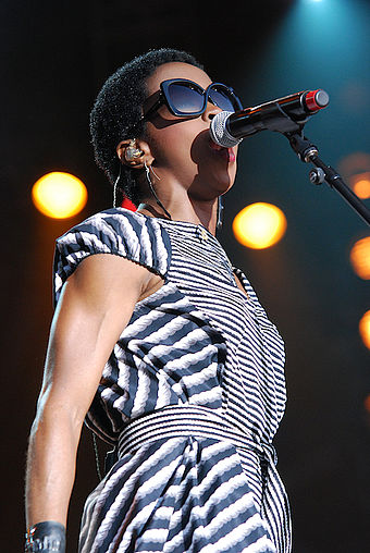 Hip hop artist Lauryn Hill has been successful as a solo performer and as a member of the Fugees. This photo shows her performing at the Ottawa Bluesfest in 2012. Lauryn Hill 2012.jpg