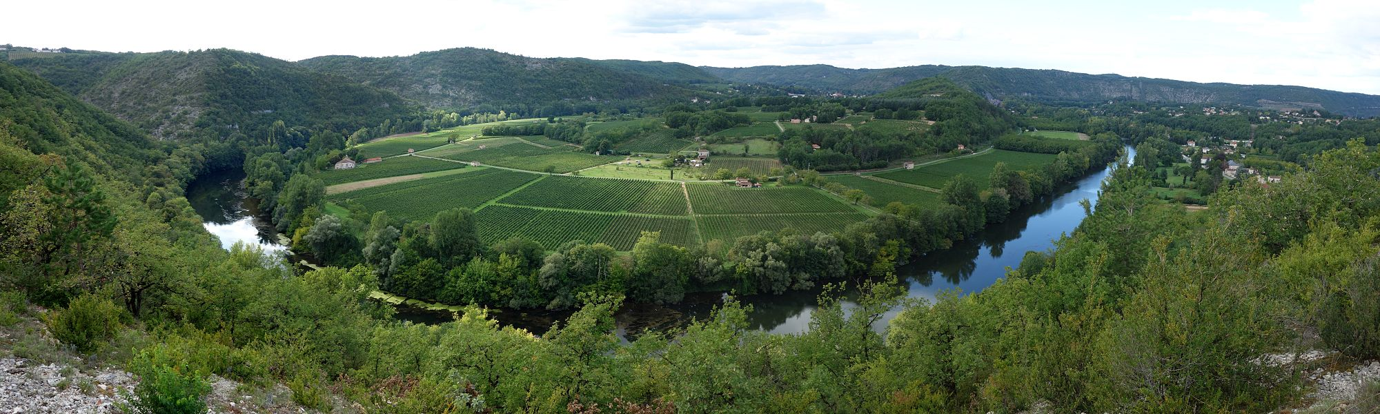Panorama of the river Lot from St Vincent Rive d'Olt near Cahors...