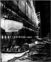 Painting of lifeboats being lowered down the side of Titanic, with one lifeboat about to be lowered on top of another one in the water. A third lifeboat is visible in the background.