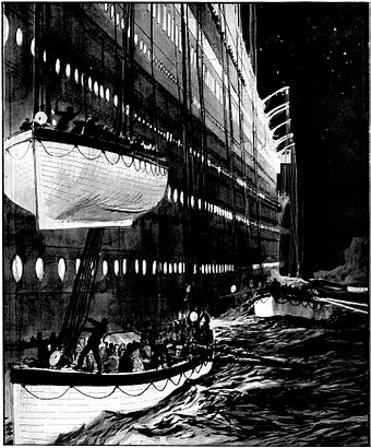 Lifeboat No. 15 was nearly lowered onto lifeboat No. 13 (depicted by Charles Dixon). Leaving the sinking liner.jpg