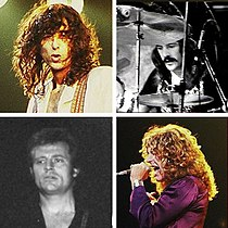 A montage of the four members of Led Zeppelin: Jimmy Page, John Bonham, Robert Plant, and John Paul Jones.