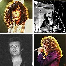 A montage of four musicians; from upper left to bottom right: A man with curly hair, a man with moustache looking at his drums, a short-haired man looking to the right, a curly-haired man singing with a microphone.