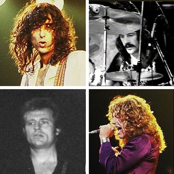 Head-shot photographs of each of the four members of Led Zeppelin