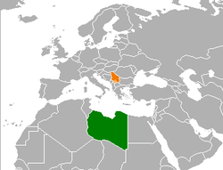 Map indicating locations of Libya and Serbia