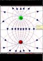 Lineas de campo y equipotencial por dos cargas.png