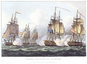 A two decked ship fires from both sides as it is surrounded by four smaller ships, three on one side and one on the other