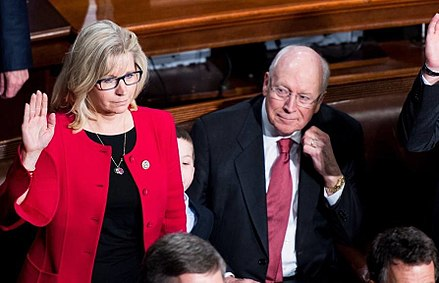 Cheney attending his daughter Liz's ceremonial congressional swearing-in ceremony in January 2017 Liz Cheney oath of office 15826579.jpg