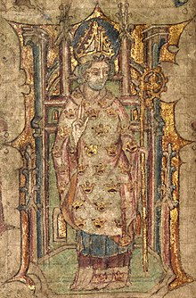 Llanbeblig Hours (f. 3v.) A bishop, possibly St. Peblig, blessing and wearing a mitre, and holding a crosier.jpg