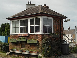 Llanfairpwll railway station - Image: Llanfairpwll signal box, Anglesey, Wales