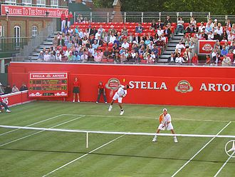 Queen's Club Championships - Lleyton Hewitt and Mark Philippoussis at the 2005 Queen's Club Championships