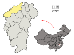 Location of Jiujiang City jurisdiction in Jiangxi