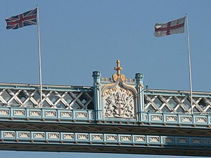 Flag of the City of London - Flag flying on Tower Bridge