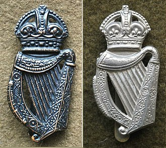 London Irish Rifles - Cap badge variations between WW1 (Left) and WW2 (Right)