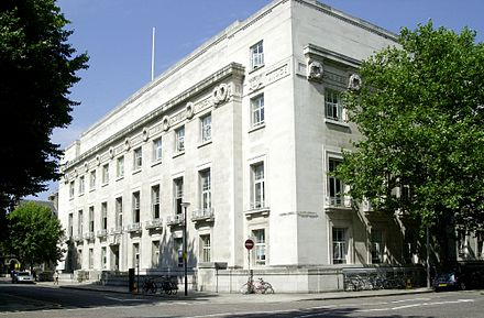 London School of Hygiene & Tropical Medicine, Keppel Street. Opened in 1929, the image shows the building's Portland stone facade . London School of Hygiene & Tropical Medicine building.jpg