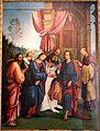 Lorenzo costa, sposalizio della vergine tra i ss. gioacchino, anna e un frate francescano, 1505, dall'annunziata 02.jpg
