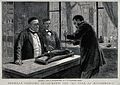 Louis Pasteur injecting rabies virus into a rabbit's brain Wellcome V0028849.jpg