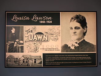 Louisa Lawson - Image: Louisa lawson suffragette light box memorial greenway
