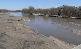 Loup River - Loup River at Nebraska Highway 39 crossing south of Genoa; looking downstream (east).