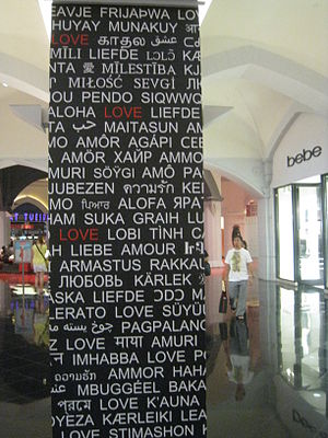 Wall post with love in different languages. Ta...