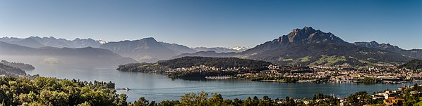 View of Lake Lucerne and the Pilatus with Lucerne
