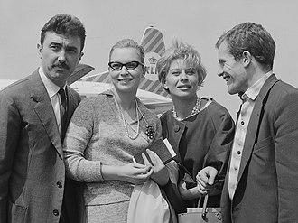 Bernard Fresson - Luciano Emmer, Marina Vlady, Magali Noël and Bernard Fresson (1 June 1960)