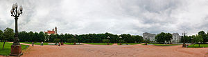 Lukiškės Square - A panoramic view of Lukiškės Square from its center eastwards. The empty place in the middle is where Lenin's statue used to stand